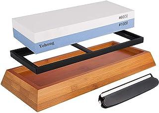 Yohong Slipsten Set 1000-6000 för professionell 2-i-1 dubbelsidig knivslipare vattensten, med halkfri basskärare vässare o...