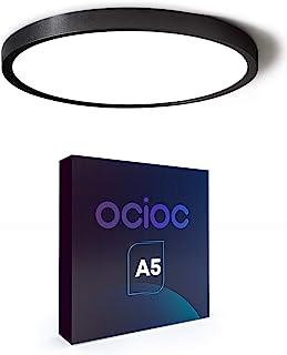 Ocioc 12inch LED Flush Mount Ceiling Light Black, 5000K, Ultra Thin Round Lighting Fixture Ceiling Lights for Bedroom, Off...
