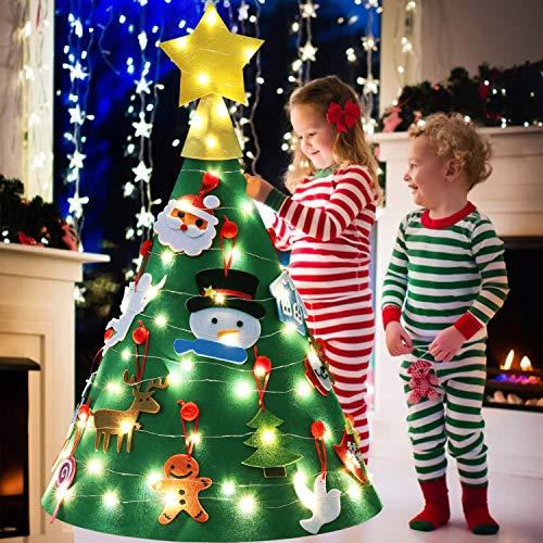 FunPa Felt Christmas Tree 2.3Ft DIY Felt Christmas Tree Set 18PCS New Year Ornaments with Light, Wall Hanging Xmas Gifts for Kids Home Door Decoration