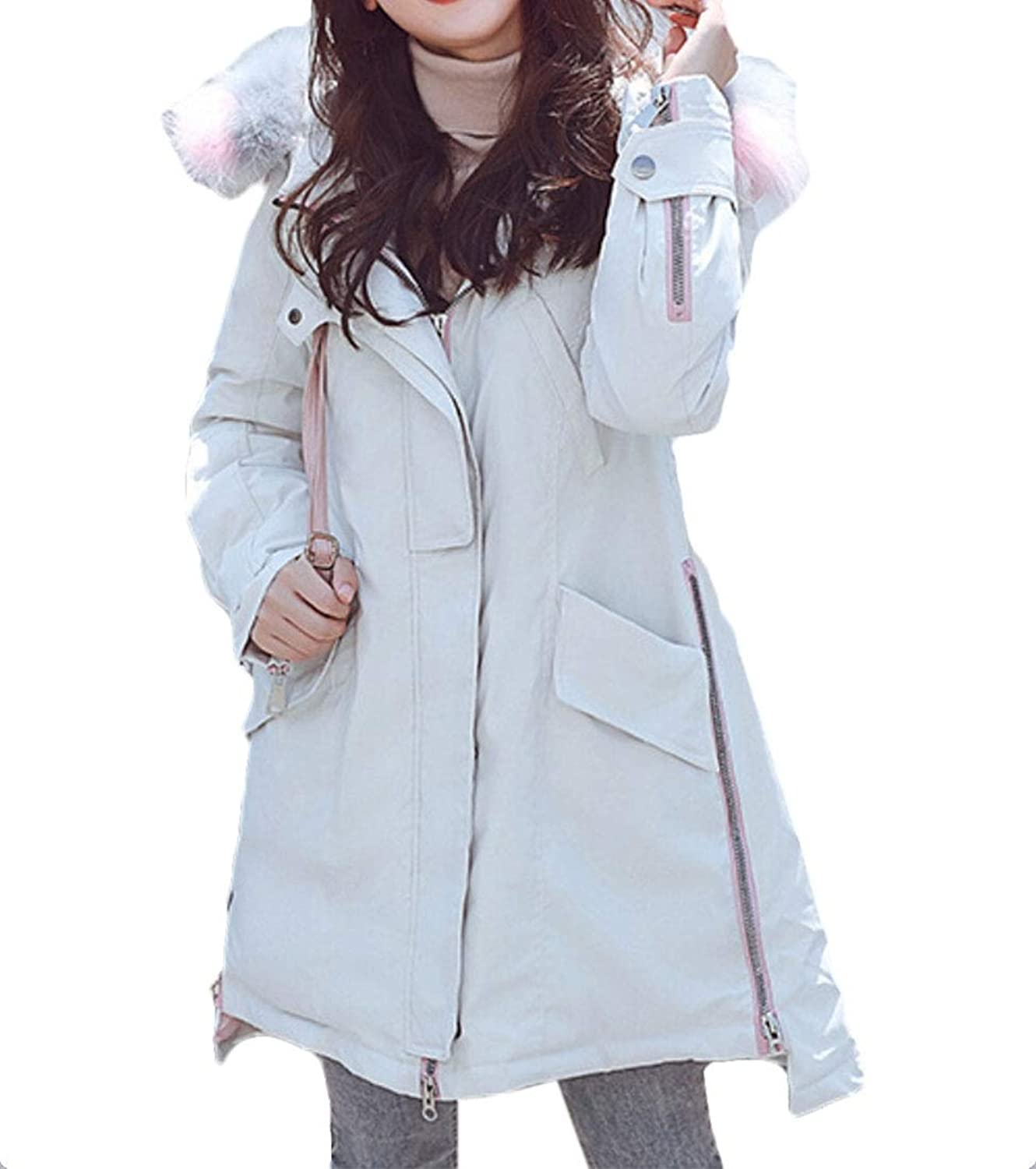 Esast Women's Puffer Quilted Faux Fur Hood Coat Lightweight Down Parka Jacket