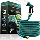 50FT Expandable Garden Hose- Upgraded Flexible & Retractable Water Hose with 8 Function Spray Nozzle