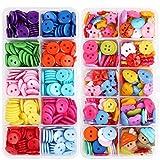 VINFUTUR 2 Scatole Bottoni di Resina Bottoni Colorati Bottoni Decorativi Bambini Fai da Te per Cucito e Artigianato