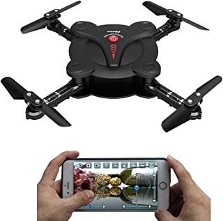 AICase FQ17W WiFi FPV Foldable Pocket Mini Drone with 0.3MP Camera Altitude Hold Mode RC Quacopter Helicopter RTF - Black