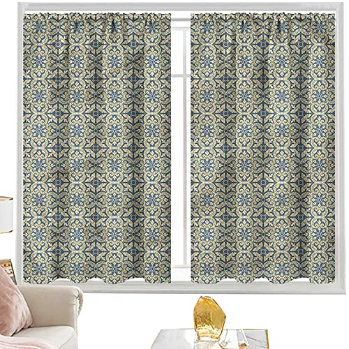 Cortinas para dormitorio geométricas, azulejos de flora victoriana W52 x L84 pulgadas cortinas de bolsillo de barra para dormitorio