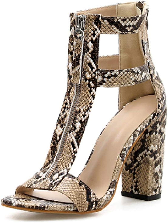Size 42 Serpentine Heels Sandals Women Summer Gladiator shoes Woman Zipper Open Toe Pumps