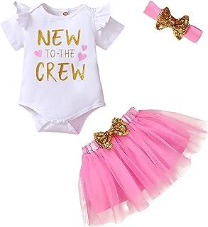 Newborn Baby Girl Outfits Infant Letter Print Romper+Tutu Skirt+Headband+Legging Warmer Coming...