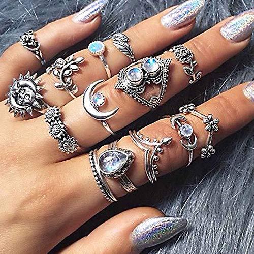 Runmi Juego de anillos bohemios ovalados de plata para nudillos de estilo vintage, anillos de cristal para mujeres y niñas (paquete de 15)