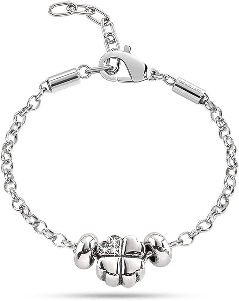 Morellato bracciale da donna, acciaio inossidabile e  quadrifoglio centrale portafortuna SCZ170
