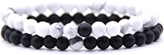CUTEDAY Hot 2Pcs/Set Couples Distance Bracelet Classic 6Mm Natural Stone White and Black Yin Yang Beaded Bracelets for Men Women