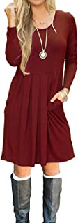 AUSELILY Women's Long Sleeve Pleated Loose Swing Casual Dress with Pockets Knee Length