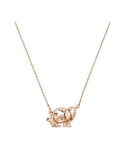 Kate Spade New York Mom Knows Best Elephant Pendant Necklace (Clear/Rose Gold) Necklace