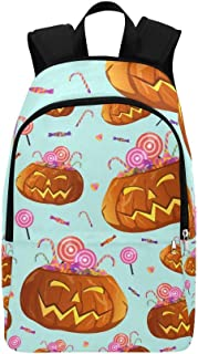 Halloween Pumpkins Candies Lollipops Casual Daypack Travel Bag College School Backpack for Mens and Women