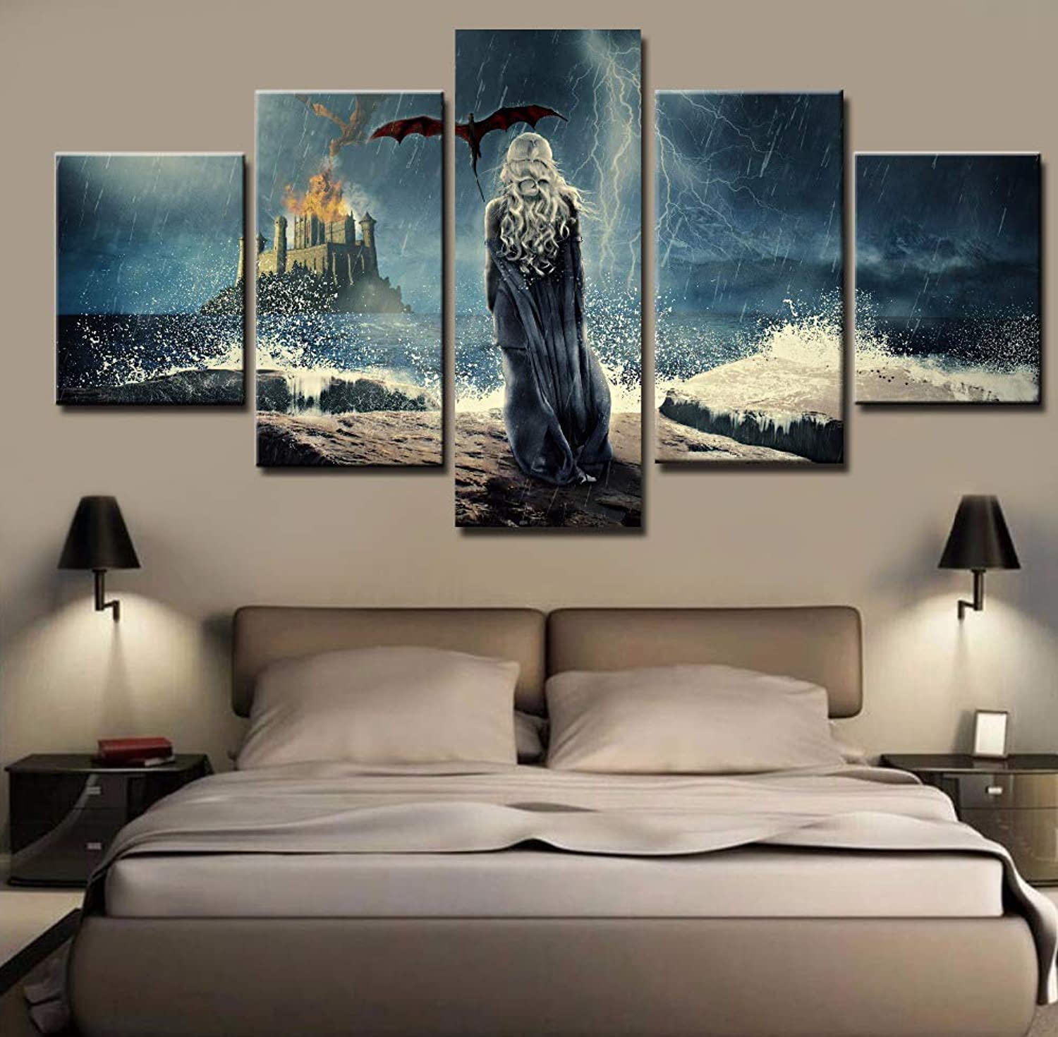Modern HD Printed Poster 5 Panels Game of Thrones Pictures Wall Art Canvas Living Room Home Decor