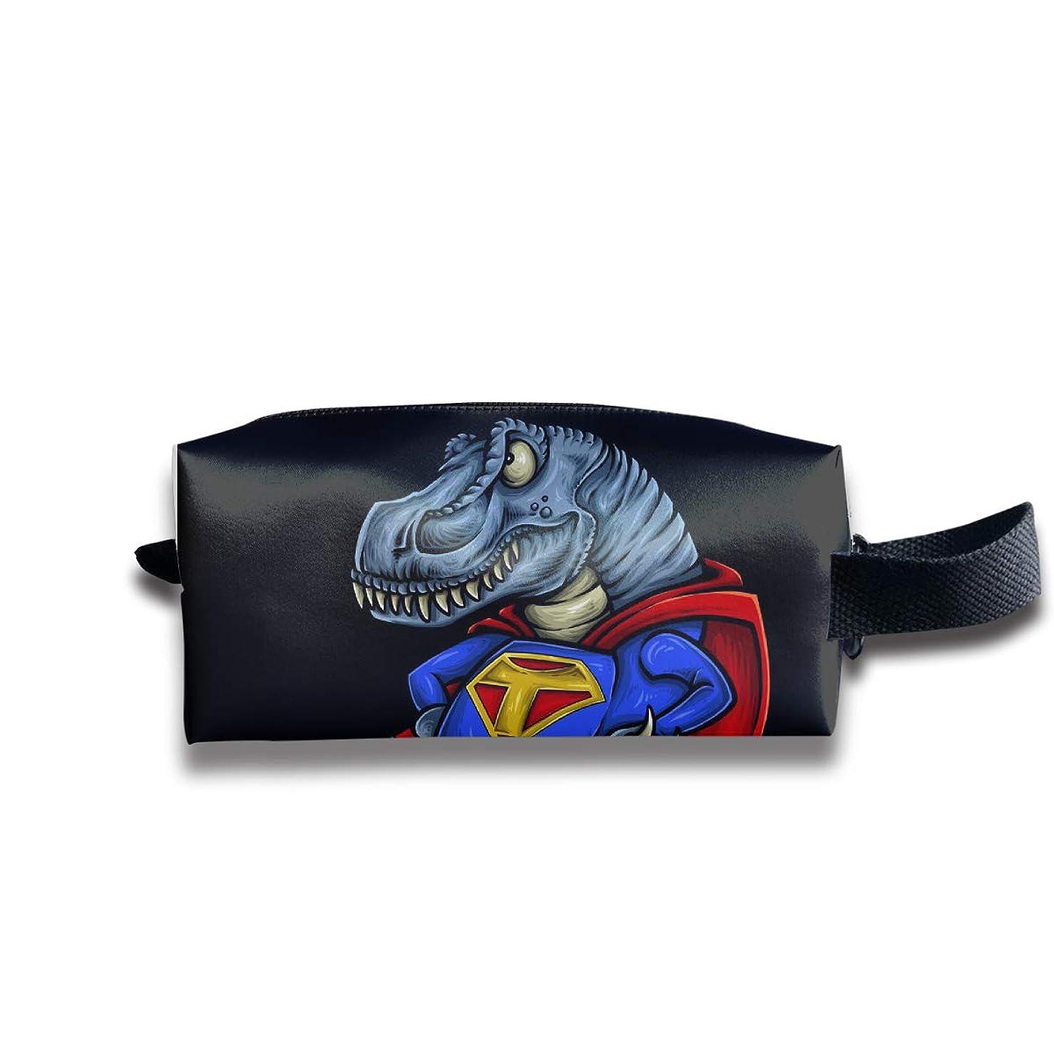 恐竜t-rexキャラクターデザイン ペンケース文房具バッグ大容量ペンケース化粧品袋収納袋男の子と女の子多機能浴室シャワーバッグ旅行ポータブルストレージバッグ