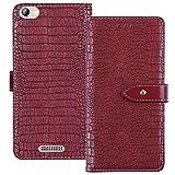 YLYT Flip Hülle Etui Rot Leder Tasche Schutz Hülle Für Alcatel OneTouch Pop 4 (6) 7070X Handy Horizontale Standfunktion Magnetverschluss Strapazierfähiger Cover