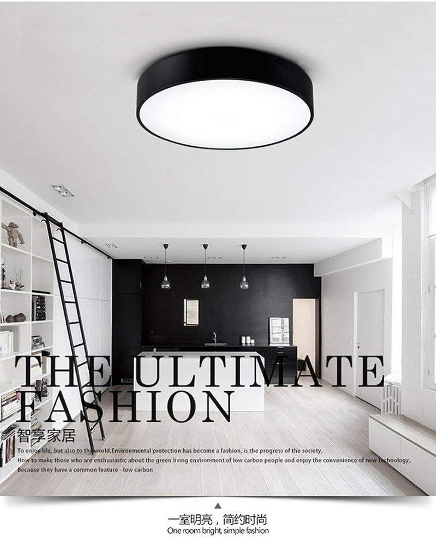 Einfache runde LED Nordic kreative Beleuchtung Wasserdichte Deckenleuchte für Wohnzimmer Schlafzimmer Studie Balkon Büro 40-schwarz-weies Licht