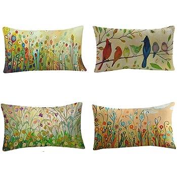 Fossrn Fundas Cojines 30 x 50 Vintage Flor Pájaro Hojas Fundas De Cojines para Sofa Jardin Cama Decoración del hogar Cuadrado Funda de Almohada (4PC/Set): Amazon.es: Hogar