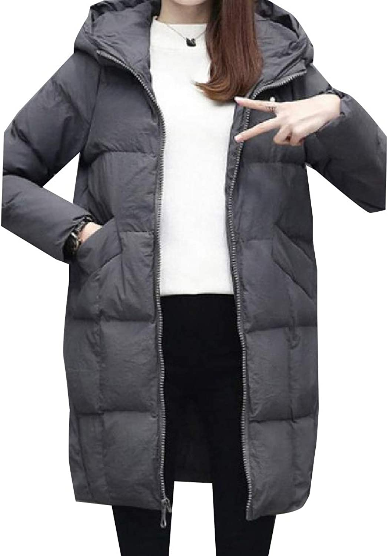 Winme Womens Warm Oversized Brumal MidLong Casual Hoode Overcoat Outerwear