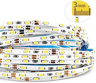 Ultra-Narrow 12V Flexible LED Strip Light, 3mm/0.12inch Wide SMD 3014, 27LEDs/ft - 16.4ft LED Tape Light for Home, Kitchen, Party, Cabinet and Backlight Lighting, Non-Waterproof, Daylight White