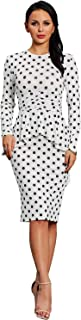 Vcegari Women's Polka Dot Retro Vintage Cocktail Dress Ruched Waist Casual Office Dress