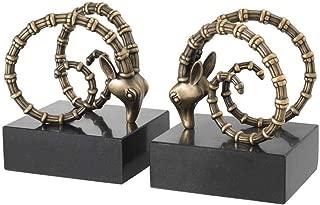 Vintage Brass RAM Heads Antler BOOKENDS | EICHHOLTZ Ibex | Luxury Marble Decorative Book Ends Holder