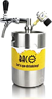 BACOENG Tiptop 175 Ounce Pressurized Keg Growler w/Heavy Duty CO2 Secondary Regulator and Flow Control Faucet