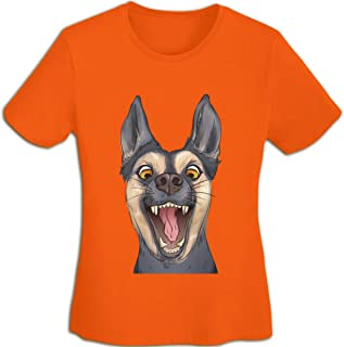 Tシャツ レディース ランニング 半袖Tシャツロゴ ベーシッククカットソー クルーネック ゆったり ワンポイント シンプル カジュアル ガールズ 動物のオオカミ犬ペット販売愚かな Orange