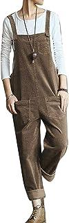 KEEPWO Women's Corduroy Dungarees Baggy Bib Overalls Adjustable Coveralls Jumpsuit