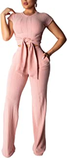 Sprifloral One Piece Jumpsuit Elegant Solid Wide Leg Pant Set Jumpers Playsuit Pink L