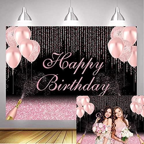 SHISHI 7x5ft Gelukkige Verjaardag Partij Achtergrond Rose Goud Glitter Roze Ballonnen Champagne Fotografie Achtergrond Vrouwen Dame Meisje Zoete 16e 30e 40e 50e 60e Banner Tafel Decoraties