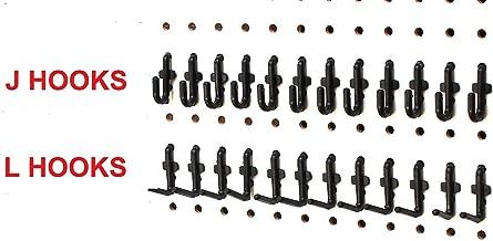 Black Plastic Locking J Hook & L Hook Pegboard Kit - 50 Pack | Garage Tool Craft Jewelry Storage Pegboard Organizer