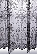"John Aird Victoria Lace Curtain Finished In Black ~ Width Sold By The Metre (Drop: 90"" (229cm))"