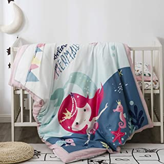 Pomco Mini Crib Bedding Set, 5PCS Mermaid Crib Baby Bedding Set-Includes Crib Comforter and Pillow Insert, Crib Duvet Cover, Fitted Sheet and Pillowcase, Animal Crib Bedding Set for Baby Boy Girl