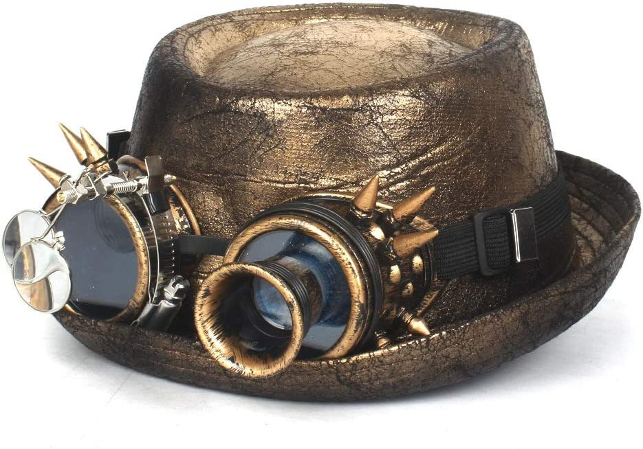 ZRZZUS Metallic Recommendation Leather Men Gold Fedora Quantity limited for Hat Steampun