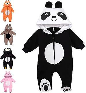 Baby Sweets Baby Overall Unisex mit Füßen & Kapuze für Neugeborene & Kleinkinder als Tier-Strampler Mädchen & Jungen - Hase, Katze, Fuchs, Panda, Pinguin, Schwein und Bär Gr. 56, 62, 68, 74, 80, 86