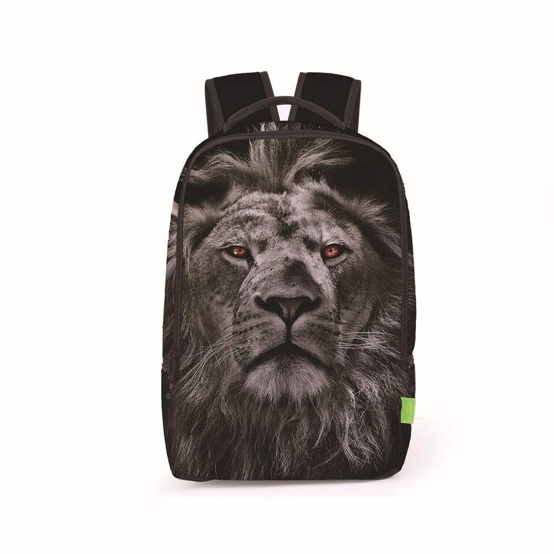 熟読素晴らしいです破産ランドセルバックパック、サイドポケットジッパーショルダーバッグ付き3D鮮やかな動物旅行バックパックバックパックカレッジバッグガールボーイ,Lion-1
