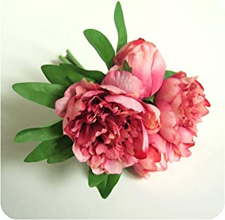 Encounter_meet DIY Silk Peony Artificial Flower Wedding Flower Fake Leaf Bridesmaids Wedding Bouquet Bridal Bouquet,Hot Pink