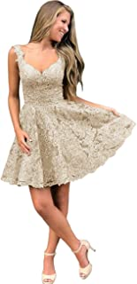 Jonlyc Charming V Neck Beaded Appliques Short Homecoming Dresses Backless