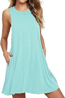 Iandroiy Women's Sleeveless Pocket Casual Loose T-Shirt Dress