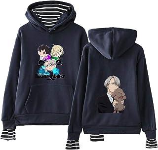 Fkjhkerk Yuri on Ice Pullover Sweatshirt /à Capuche Patchwork Tops Manches Longues sans Bretelles Loisirs Impression Empreinte Femmes