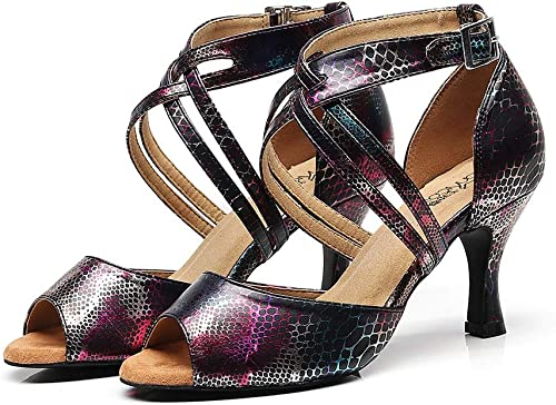 JHDPH3 Chaussures De Danse à Lacets pour Femmes Intérieur Anti-dérapant Haute Qualité PU Compétition Débutant Réglable Talons Hauts (Couleur   noir, Taille   US7.5 EU38 UK5.5)