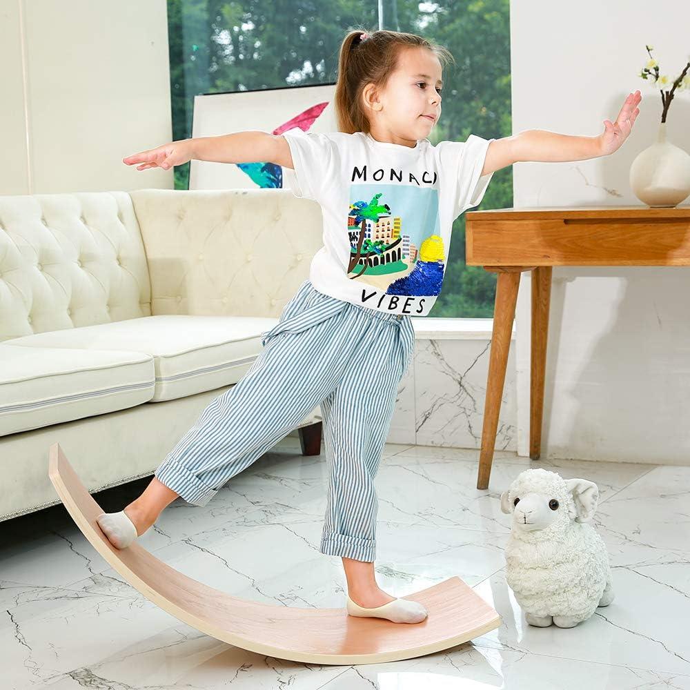 HAJACK Wooden Balance Board, Wobbel Curvy Board for KidsAdults,