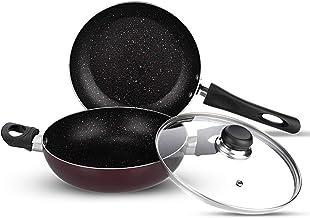 Vinod Supreme Induction Friendly Nonstick Cookware Set ,2pcs, Garnet Metallic
