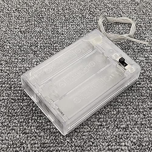 Ghlevo 2/3 X 1.5V (3/4.5V) AA Caja de Almacenamiento de la Caja del Soporte de la batería con EN/El Interruptor Off y los Cables de extensión Llevan el Clip de Resorte Transparente