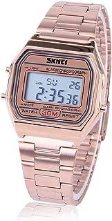 Montre-bracelet électronique 3 couleurs - Rétro-éclairage LED - Rectangulaire - Avec armature en acier inoxydable