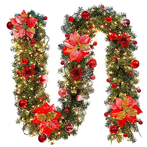 Lipoipo Christmas Decorations LED Lights Tree Hanging Ornament Decor Pre-lit Artificial Xmas Garland for Party Red
