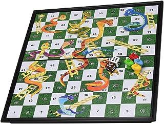 AINetJP 蛇と梯子 ボードゲーム ミニゲーム 磁気 折り畳み式 おもちゃ (24.8cm×24.6cm)