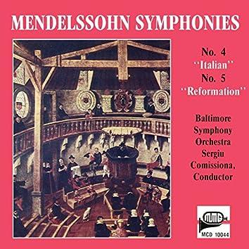 "Mendelssohn: Symphony No. 4 in A Major ""Italian"" & Symphony No. 5 in D Major ""Reformation"""