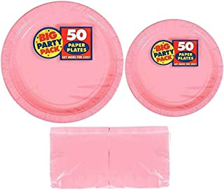 Serves 50 | Big Party Pack Pink 50-Set (Dinner Plates, Dessert Plates, Luncheon Napkins) Party Avenue Bundle-Pack | Complete Party Pack | Baby Shower, Office parties, Birthday Parties, Festivals, Pink Theme
