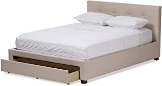 A to Z Furniture - Contemporary Fabric Storage Platform Bed King in Beige Color Without Mattress